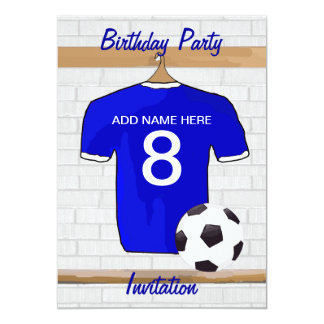 Blue White Football Soccer Jersey Birthday Party Card