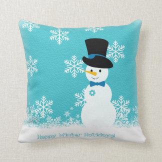 Blue white funny snowman with snowflakes cushion