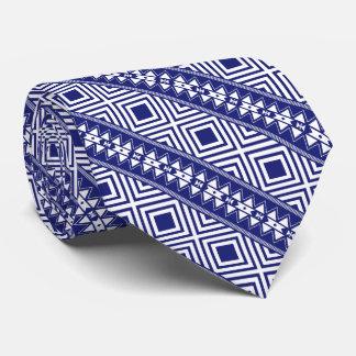 Blue & White Geometric Design Mens Tie