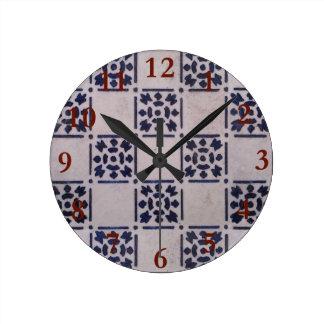 Blue White Geometric Tile Painting Art Graphic Round Clock