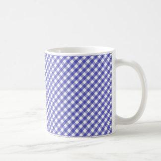 Blue White Gingham Check Pattern Coffee Mugs