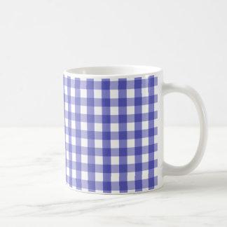 Blue White Gingham Check Pattern Mug