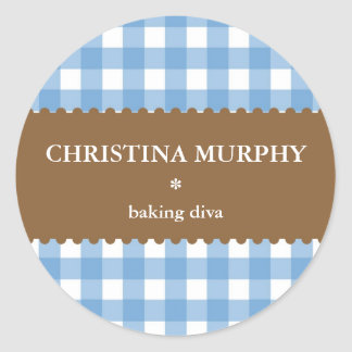 blue white gingham homemade food label seal round sticker