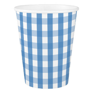 Blue white gingham Paper cup
