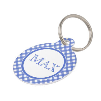 Blue & White Gingham Pattern  Personalized Pet Tag