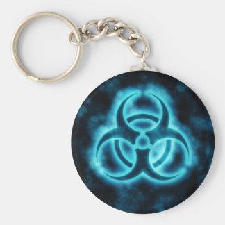 Blue-White Glow Biohazard Symbol Keychain