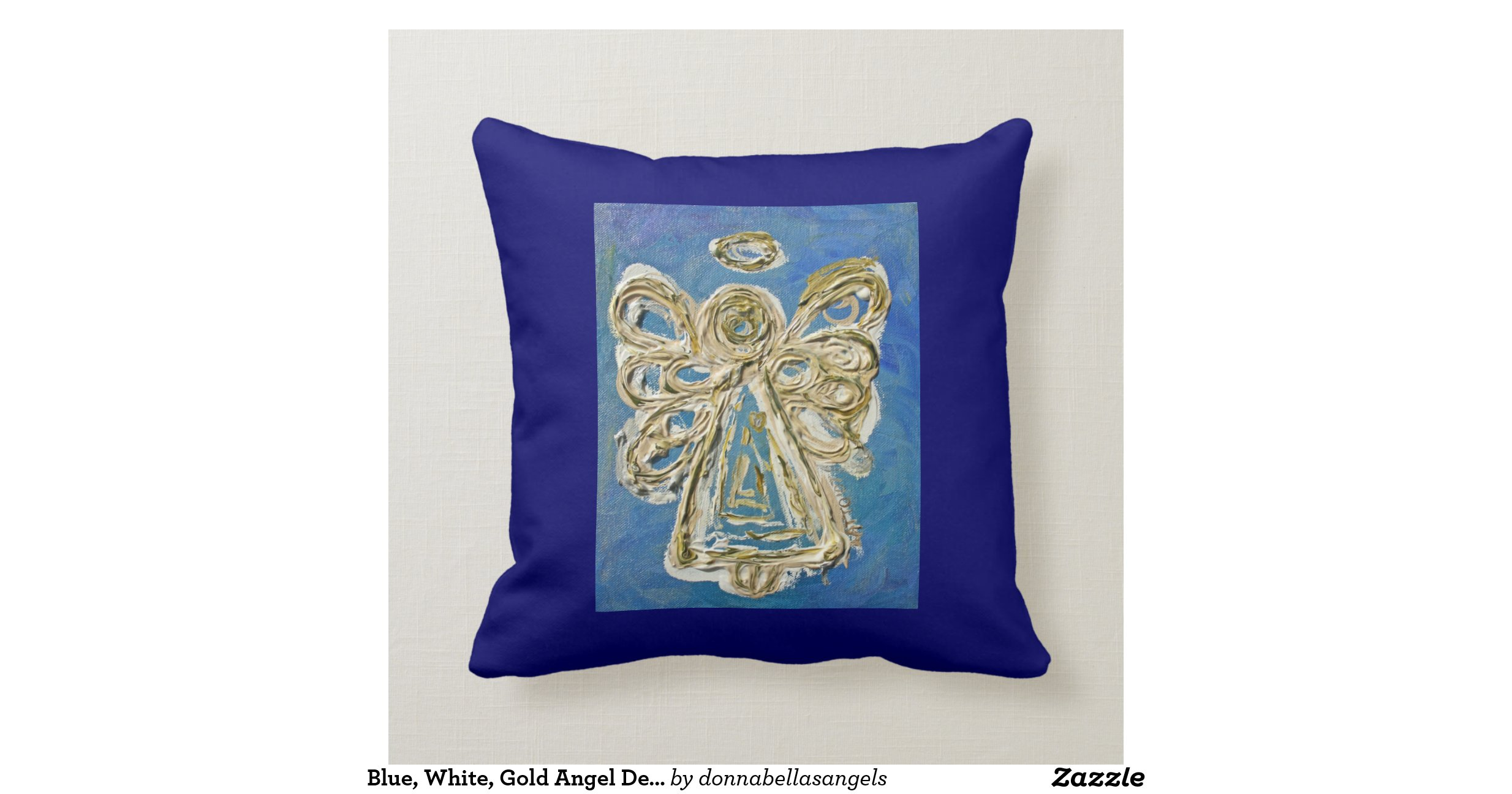 Blue, White, Gold Angel Decorative Throw Pillow Cushions Zazzle