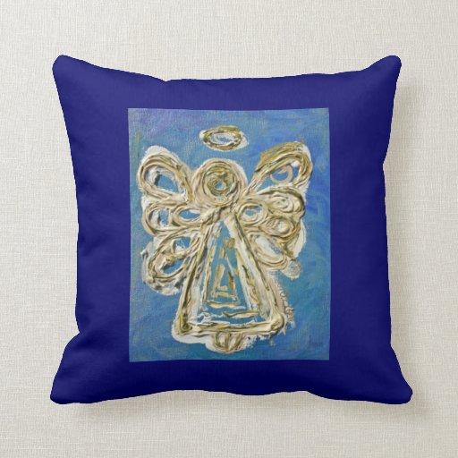 Gold Blue Decorative Pillow : Blue, White, Gold Angel Decorative Throw Pillow Cushions Zazzle