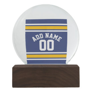 Blue White Gold Sports Jersey with Name Number Snow Globe