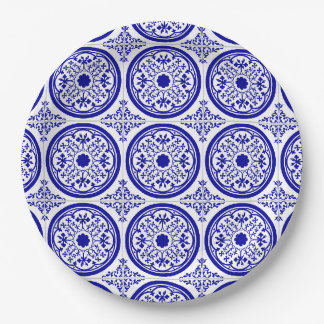 Blue White Gothic Tile Pattern Paper Plate