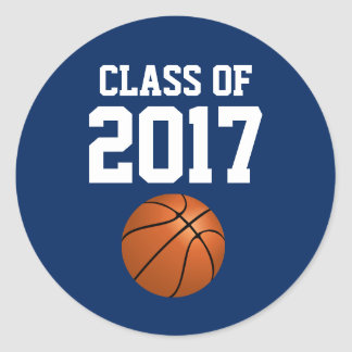 Blue White Graduation Sticker Basketball Player