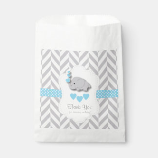 Blue, White Gray Elephant Baby Shower Thank You Favour Bag