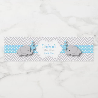 Blue, White Gray Elephant Baby Shower Water Bottle Label