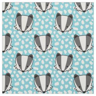 Blue White Grey - Badger Pattern Fabric