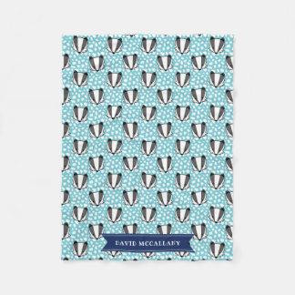 Blue White Grey - Badger Pattern - Name Fleece Blanket