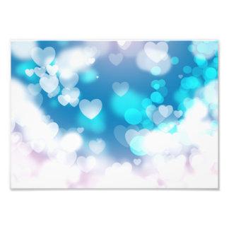 BLUE WHITE HEARTS LAYERS BOKEH DIGITAL WALLPAPER PHOTO PRINT