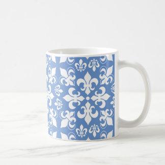 Blue & White Heraldic French Fleur de Lis Pattern Basic White Mug