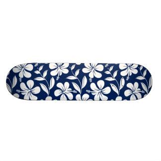 Blue & white hibiscus 21.3 cm mini skateboard deck