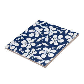 Blue & white hibiscus ceramic tile