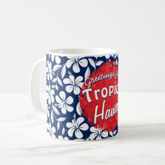 Blue & white hibiscus coffee mug