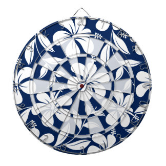 Blue & white hibiscus dartboard