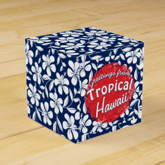 Blue & white hibiscus favour box