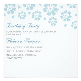 Blue & White Hibiscus Flower Birthday Invitation