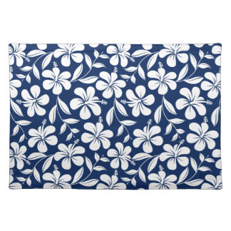 Blue & white hibiscus placemat