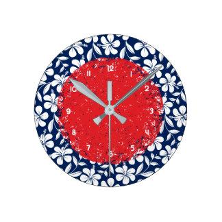 Blue & white hibiscus round clock