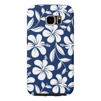 Blue & white hibiscus samsung galaxy s6 cases