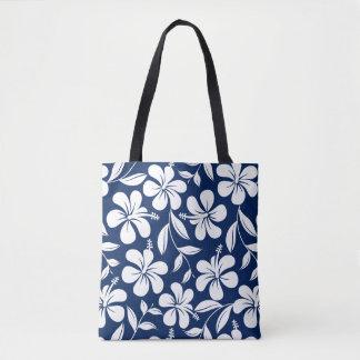 Blue & white hibiscus tote bag