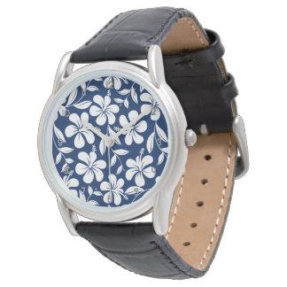 Blue & white hibiscus watch