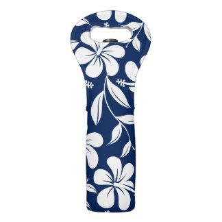 Blue & white hibiscus wine bag