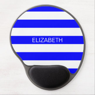 Blue White Horizontal Rugby Stripe Name Monogram Gel Mouse Pad