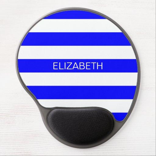 Blue White Horizontal Rugby Stripe Name Monogram Gel Mousepad
