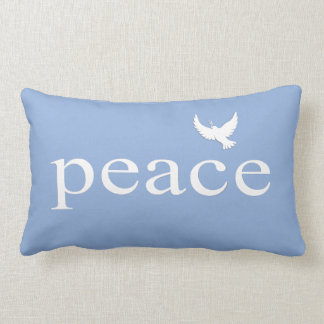 Blue White Inspirational Peace Quote Lumbar Cushion