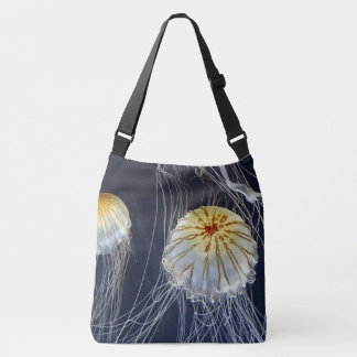 blue white Jellyfish abstract tote bag