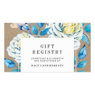 Blue & White Kraft Rose Gift Registry Insert Pack Of Standard Business Cards
