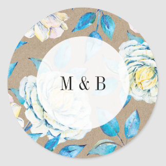 Blue & White Kraft Rose Wedding Invitation Sticker