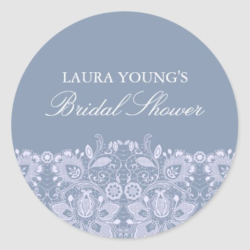 Blue & White Lace | Bridal Shower Sticker
