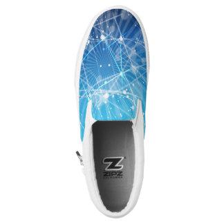 Blue & White Light Burst Slip-On Sneakers
