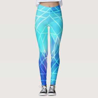 Blue White line Leggings