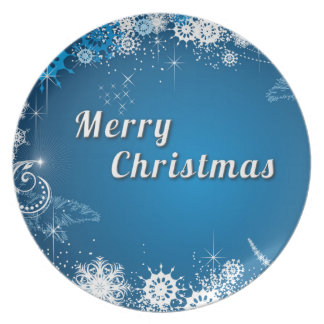 Blue white merry christmas plate