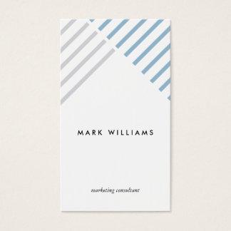 Blue White minimal congregation stripes modern Business Card