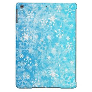 Blue,white mixation colours snowflake iPad air cover