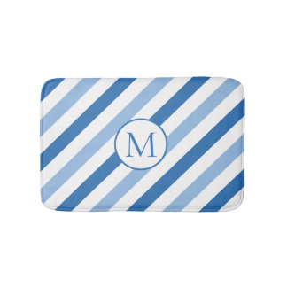 Blue white monogram bath mat