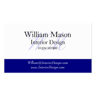 Blue & White Monogram Business Card