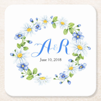 Blue White Monogram Daisy Floral Wedding Square Paper Coaster