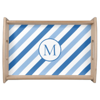 Blue white monogram serving tray