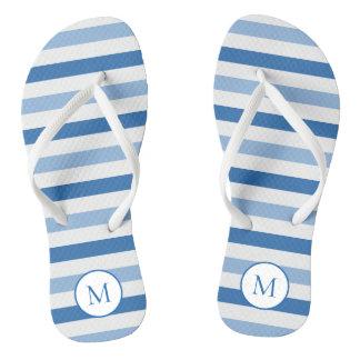 Blue white monogram thongs